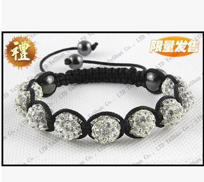EMS / DHL/FedEx Free Shipping,Wholesale 150 pcs/lot,9 Balls 10mm Crystal Beads 20 Mix ColorHigh Quality Shambala Bracelet SB04(China (Ma