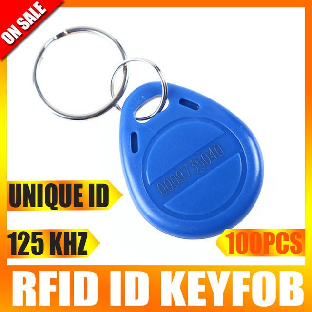 100pcs/lot RFID Proximity ID Token Tag Key Ring 125Khz Blue