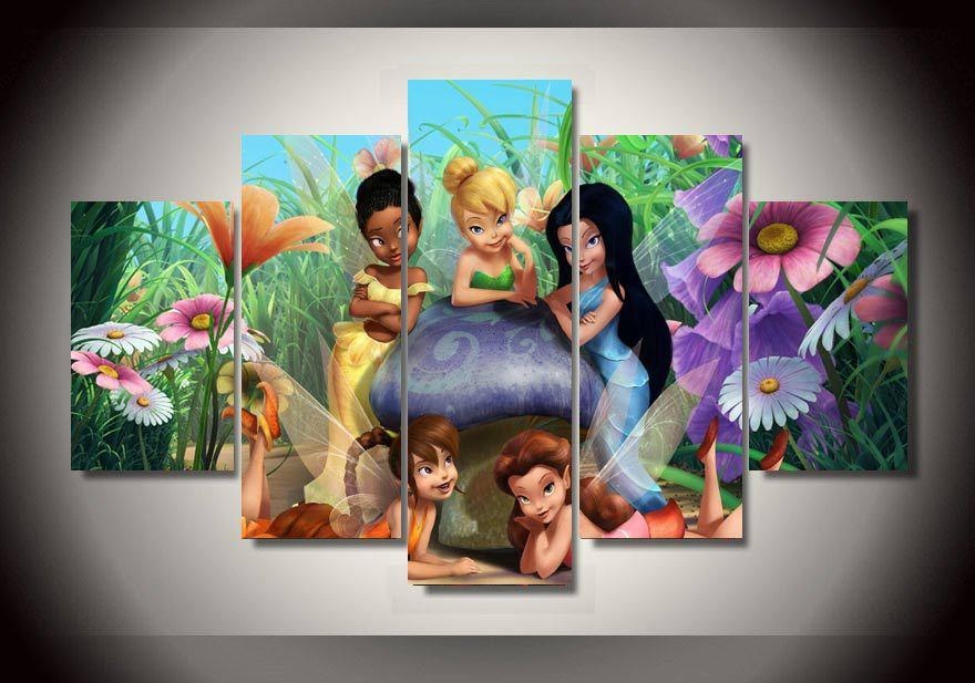 quarto jardim de fadas:de parede tinkerbell fada dos desenhos animados crianças quarto