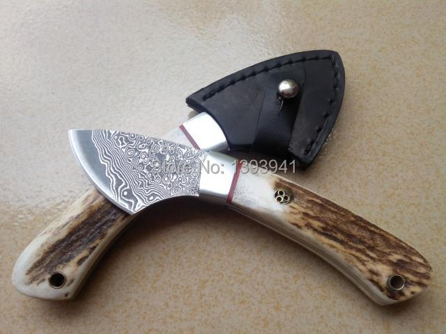 Damascus steel knife Pure natural animal bones Antlers handle knife by hand The collection aloes knife