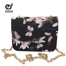ECOSUSI Floral Print Women Leather Handbags Long Strap Ladies Handbags Bling Chain Women Messenger Bag Mini Lovely Shoulder Bag(China (Mainland))
