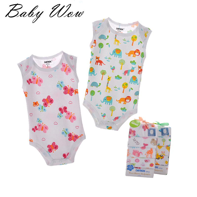 5 Pcs/lot Summer Baby Jumpsuits Sleevesless Infant Brand Bodysuits Mixed Random Vest Cartoon Style Newborn Print Romper tyh-303<br><br>Aliexpress