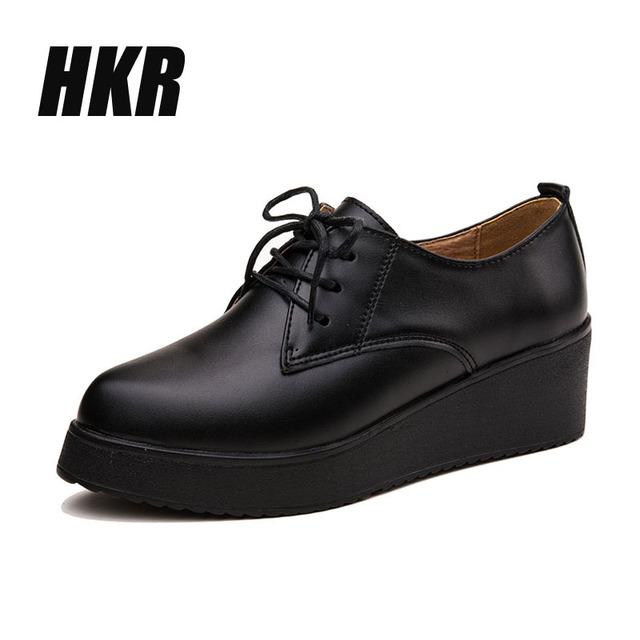 HKR 2016 весна женщин платформы клинья обувь из натуральной кожи на шнуровке квартир ...