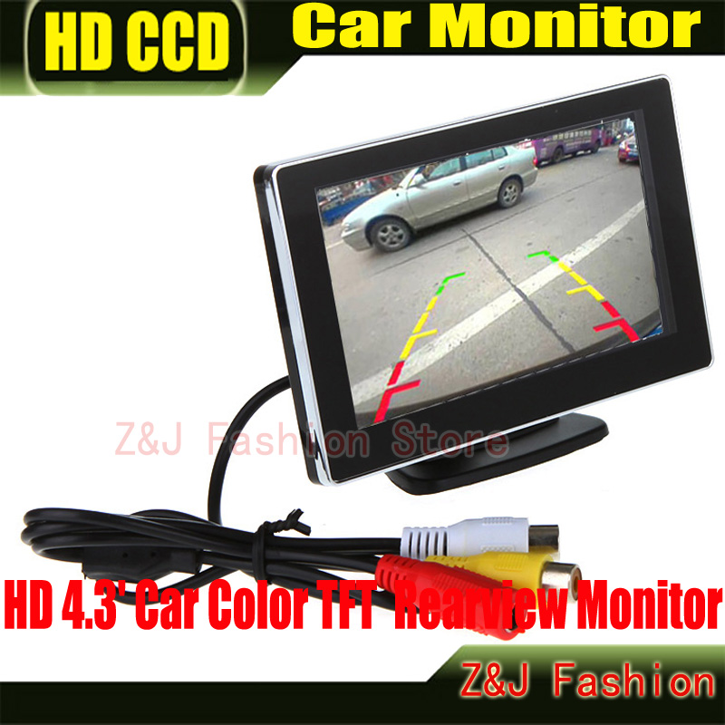 """Car 4.3"""" Digital Color TFT 16:9 LCD Car Reverse Monitor with 2 Bracket holder HD Rearview Camera DVD VCR Monitor Free Shipping(China (Mainland))"""