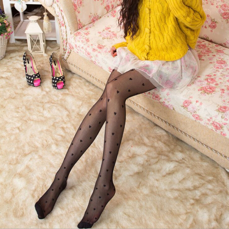2015 summer new Free Shipping Fashion Tight Cute Heart Marked Ultra Thin Stockings Pantyhose for Women #C0446(China (Mainland))