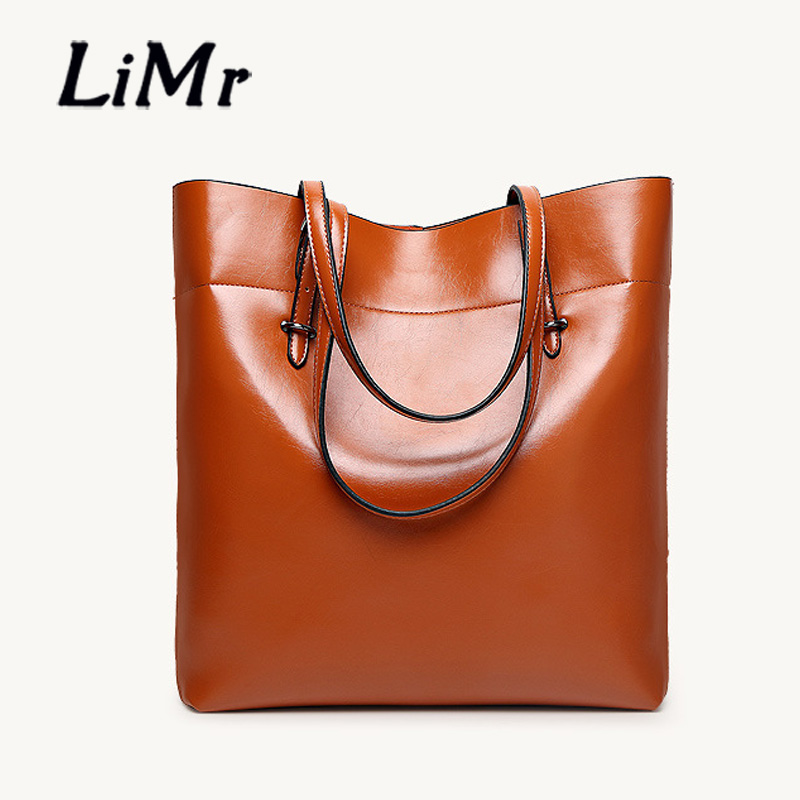 LiMr New Fashion Winter Casual Tote PU Leather Women Handbags Solid Soft European American Leather Shoulder Bag Lady Bucket Tote