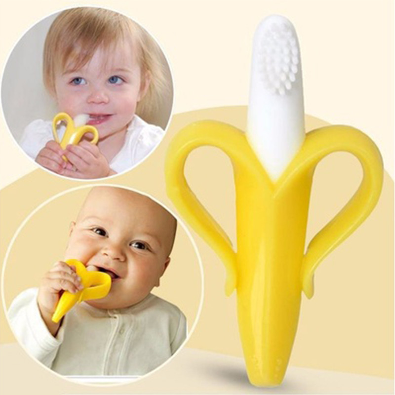 High Quality Infant Baby Teether Toothbrush Silicone tooth brush Baby chews Banana Chewing Teeth Stick Children Teething Ring(China (Mainland))