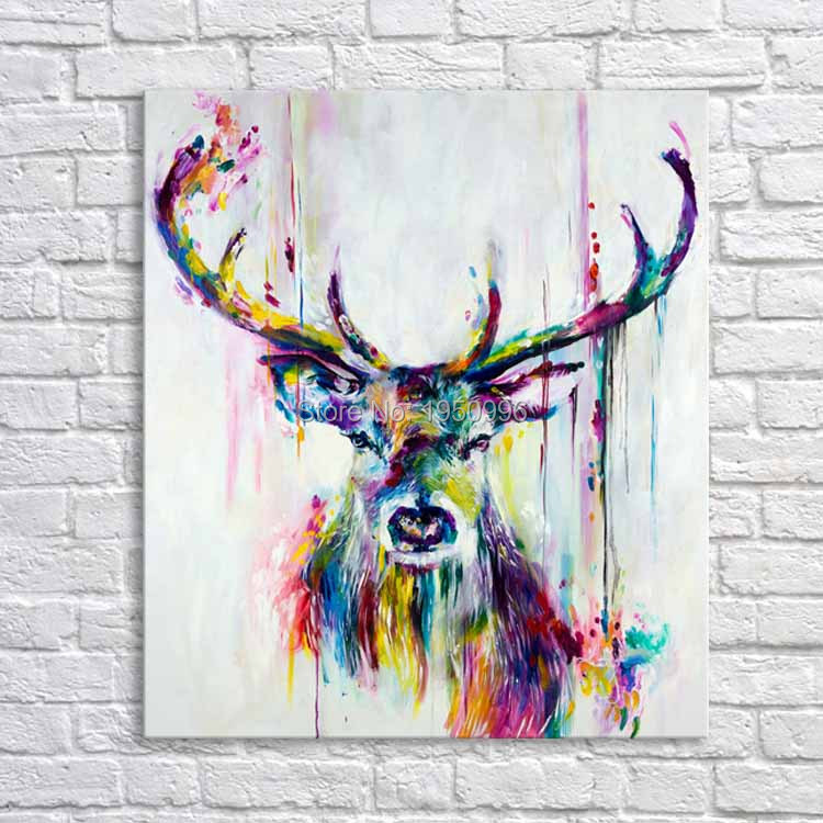 Best Selling Handmade Items Colorful Abstract Paintings Animals Oil Painting Deer Oil Paintings Wall decor Wallpapers Home Decor(China (Mainland))