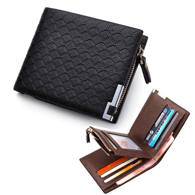 Модный Бренд короткие плед дизайнер мужской кожаный бумажник кармана монету человек ...