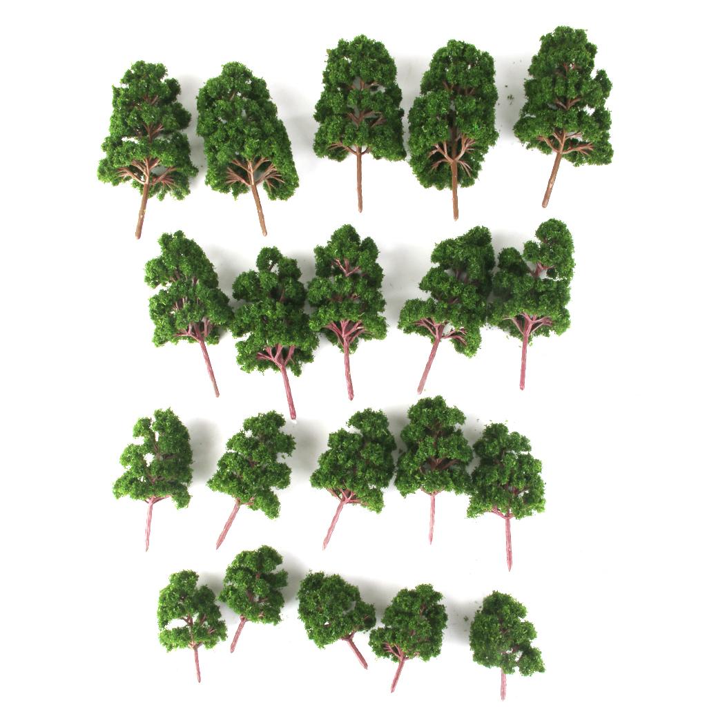 20pcs Deep Green Plastic Model Trees HO N Z Scale Train Model Kits Railways Scenery Layouts Diorama Architecture Decor Accessory