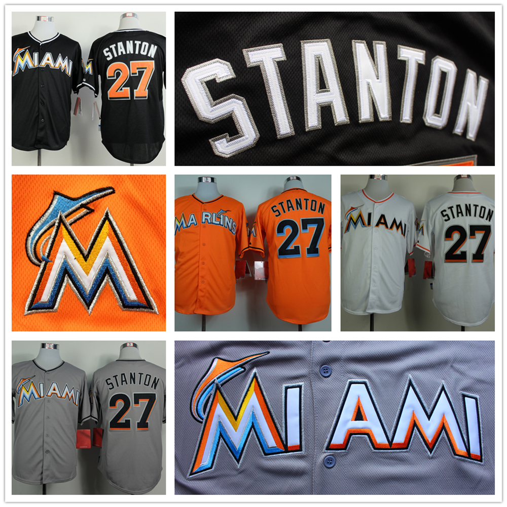 High Quality Giancarlo Stanton Jersey Cheap Marlins 27# Stanton Baseball Jerseys Stitched Black Gray Orange White(China (Mainland))