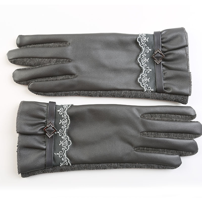 Touch Screen Fashion Leather Wrist Gloves Women Gloves Mittens for Girls Outdoor Wrist Heated Lace solid Winter Gloves Women(China (Mainland))