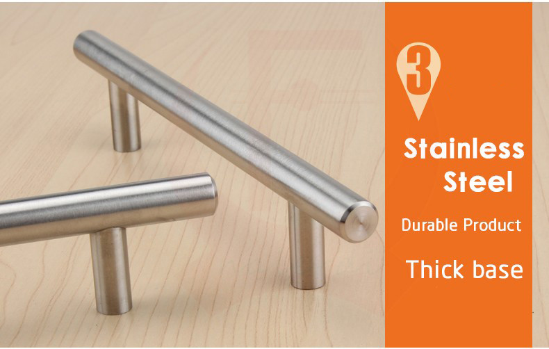 "NED 4″ ~ 24"" Stainless Steel Handles Diameter 10mm Kitchen Door Cabinet T Bar Straight Handle Pull Knobs Furniture Hardware"