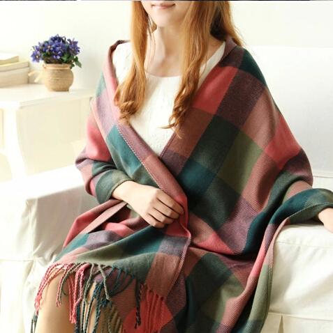Women's Soft Long Shawl Big Grid Winter Warm Lattice Large Scarf Classic Scotland Plaid Scarves - Tings'store store