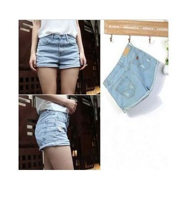 Hot Vintage Turn-ups High Waisted Cotton Denim Jean Short HOTPANTS 5 Size Large