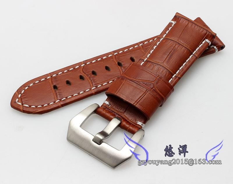 Часы полоса 24 мм новых людей черный светло-коричневый руку-шить из натуральной кожи ремешок группы браслеты