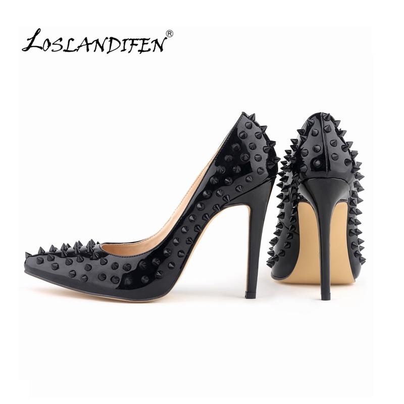 LOSLANDIFEN Sexy Pointed Toe High Heels Women Pump Shoes Patent Rivets Spring Brand Wedding Pumps Big Size 35-42 302-1PA-REVETS(China (Mainland))