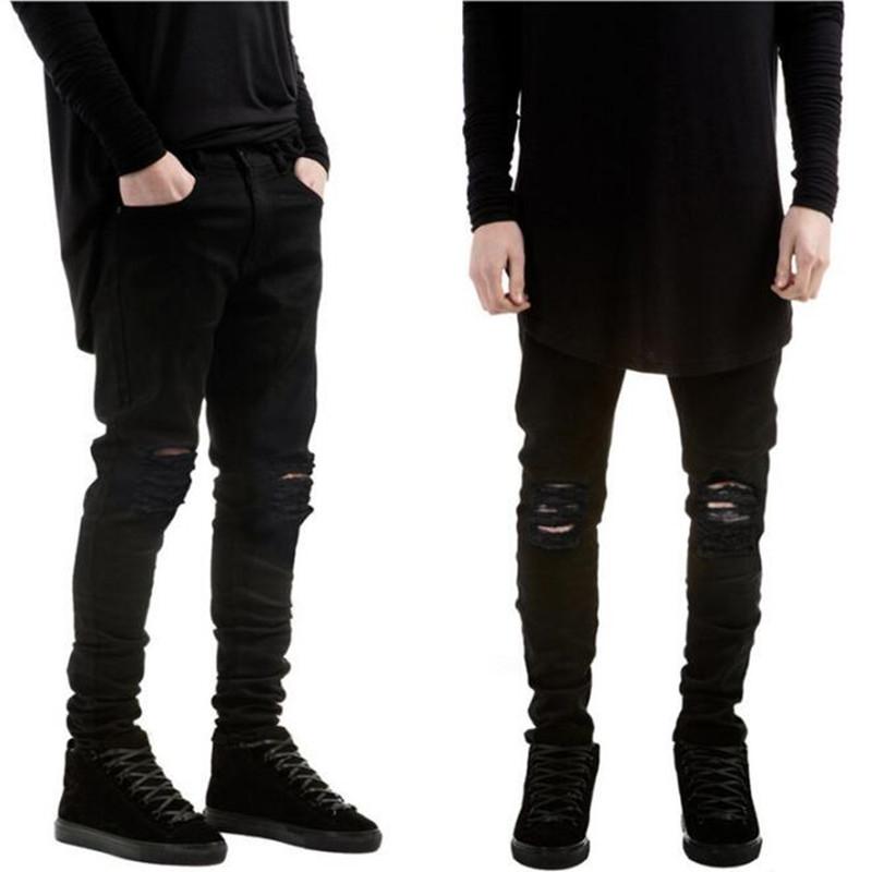 Zwarte broek met gaten heren