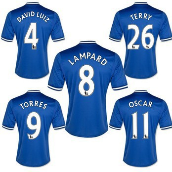 Free Shipping 2013 14 Chelsea Home Away Soccer Jerseys Torres Lampard Terry ETO'O Mata Blue White football jerseys Shirt(China (Mainland))