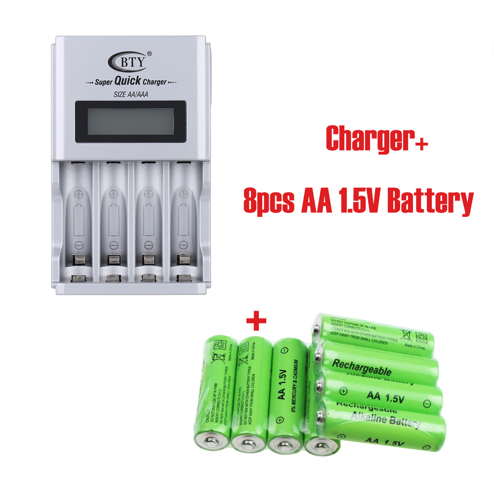Intelligent Digital 4 Slots LCD Battery Charger Compatible Li-ion NiCd NiMh AA AAA Battery+8pcs rechargeable Alkaline batteries(China (Mainland))