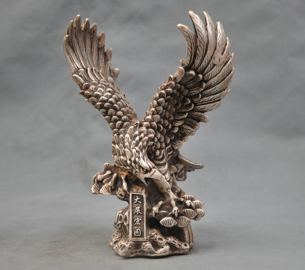 8'' China Silver Bronze Hawk Eagle Bring Luck To Career Bronze Statue wholesale prom old art & antiques Silver Bronze(China (Mainland))