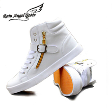 New Men's Shoes Fashion PU Leather Mens Shoes Casual Black/White High Top Shoes Buckle Side Zipper US 10.5