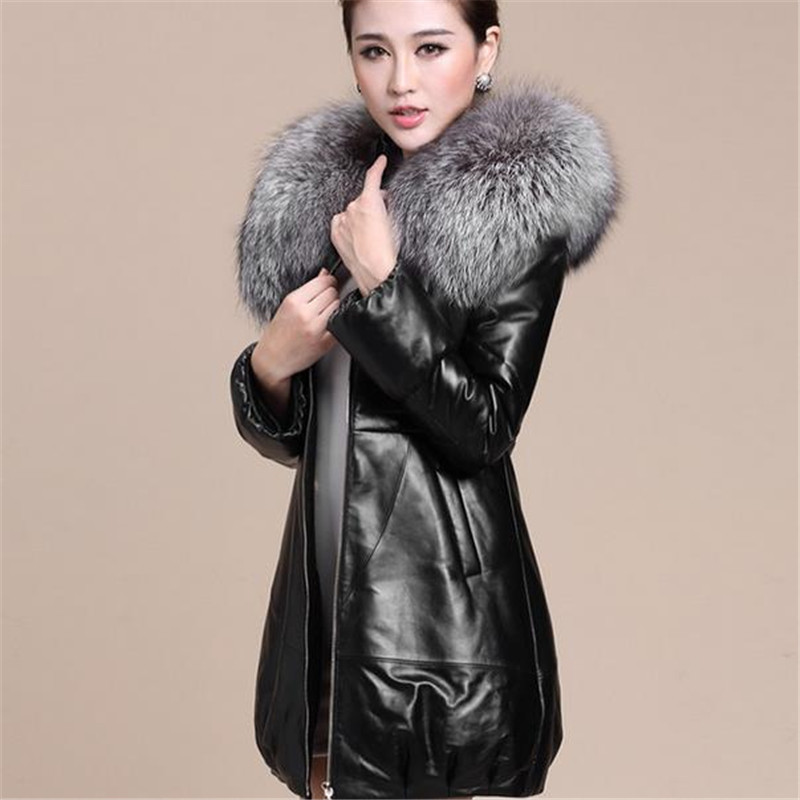 M-3XL 2015 New Winter Women Down Cotton-padded Coat Pu Leather Artificial Raccoon Fur Collar Jacket Female Long Outwear ZS278(China (Mainland))
