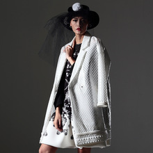 2016 Big Design Brand Composite PVC Mesh Coat Long White font b Trech b font Coat