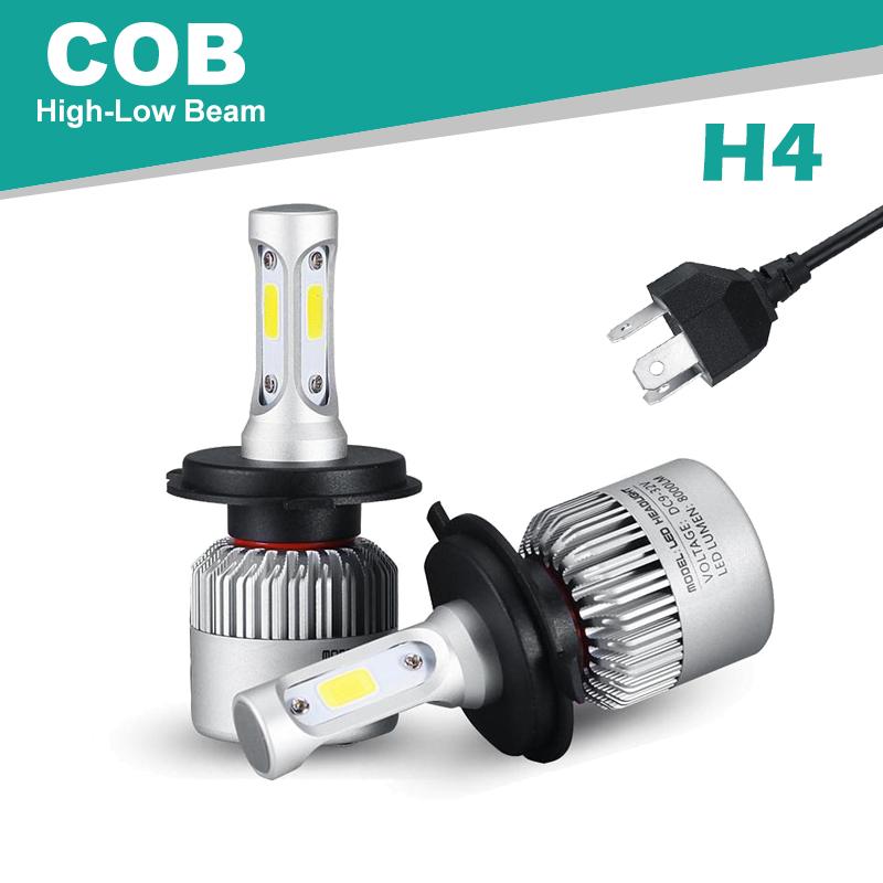 Oslamp Hi-Lo Beam COB H4 72W/pair Bright 6500K 2pcs LED Car Headlight 2WD 4WD Led Auto Head Lamp SUV 1 Pair of LED Bulb with Fan(China (Mainland))