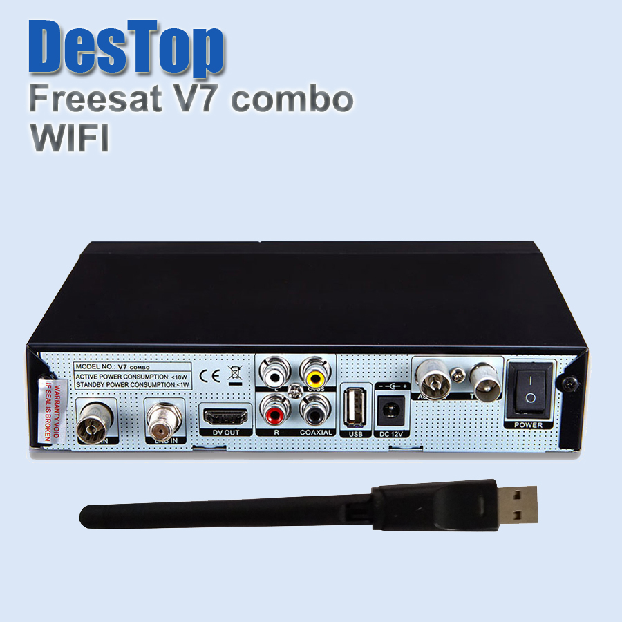2pcs [Genuine] Freesat V7 Combo HD Satellite Receiver & USB Wifi DVB S2 + DVB T2 Support PowerVu Biss Key Cccam Newcam Youtube(China (Mainland))