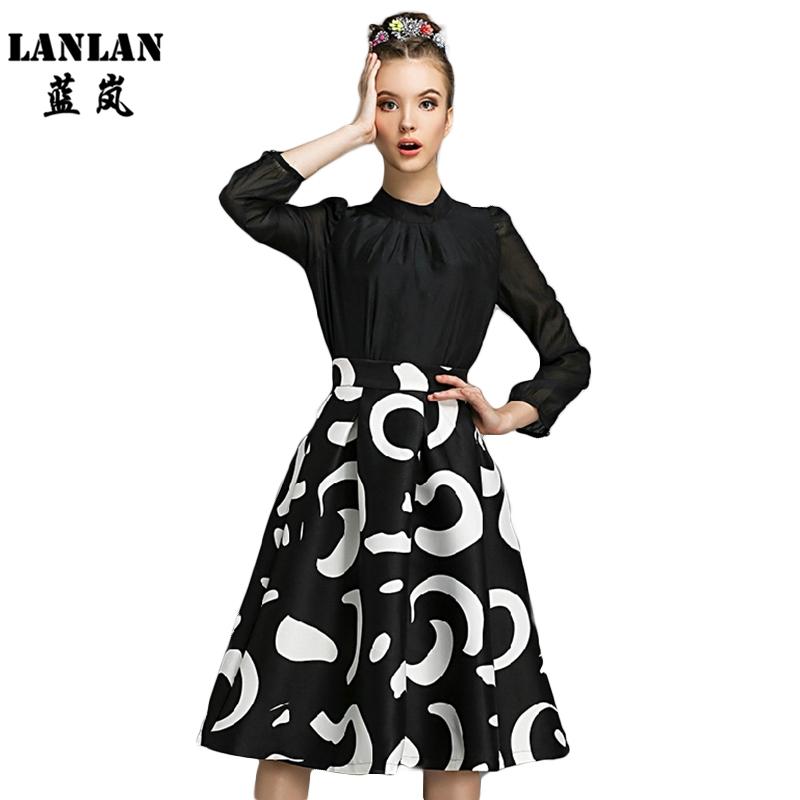 2016 New Fashion Skirt High Waist Pleated Skirt Ladies Elegant Faldas Polyester Spring Print faldas Women Midi Skirts(China (Mainland))