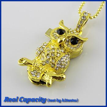 free shipping diamond usb stick 4gb 8gb 16gb 32gb pendrive necklace pen drive animal owl usb flash drive