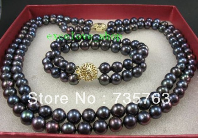 xiuli 00168 8-9mm natural pearls jewelry set necklace bracelet<br><br>Aliexpress