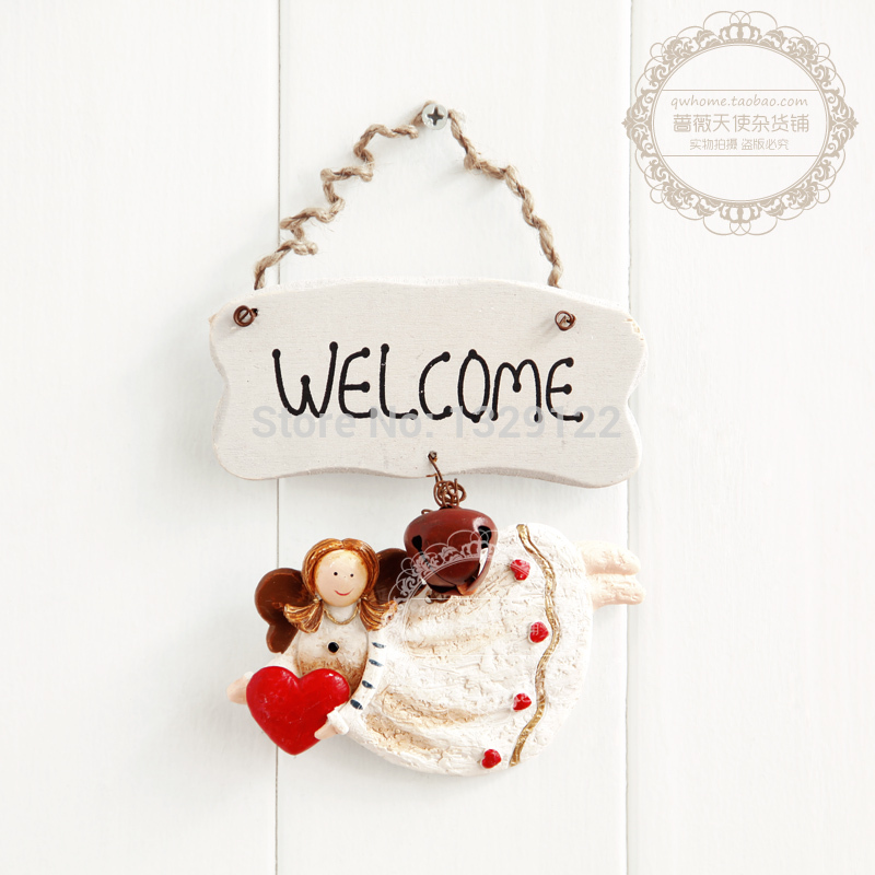 Free Shipping New Mini Fashion Vintage Resin Little Angel Finaning,muons Door Plate Welcome Sign Home Decor(China (Mainland))