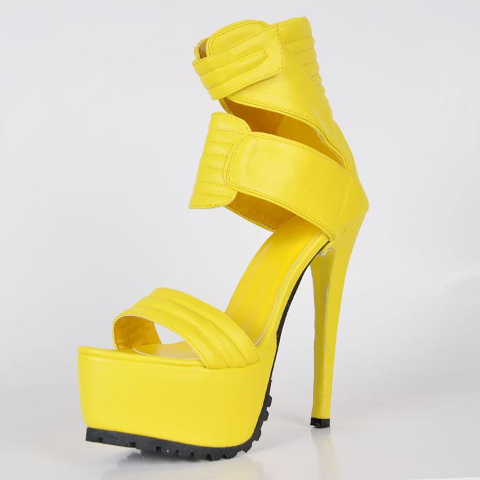 Фотография Bright Yellow Soft Leather Wmen Sandal High Heel Stilettos Open Toe Summer Style Shoes Women Ankle High Fashion Sandal For Cheap
