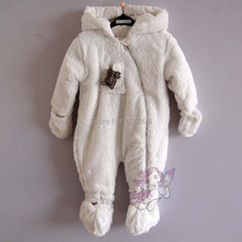 2015 New Winter Girls Boys Thick Rompers Newborn Baby Coral Fleece White Jumpsuit Warm Outwear Bear Hat  Hooded Coat Cute Outfit(China (Mainland))
