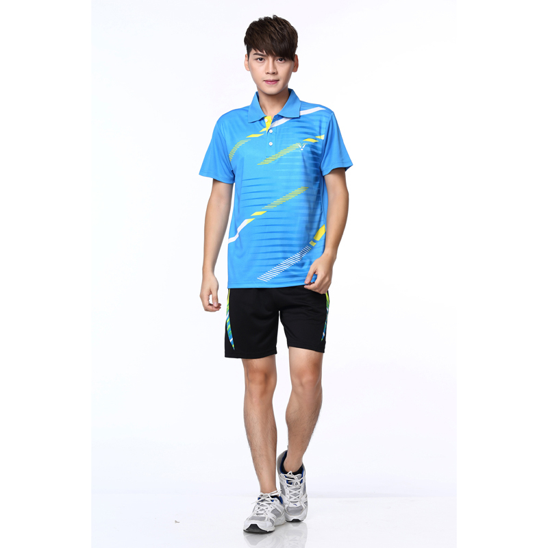 2015 race way badminton clothing men and women sports for Dress shirts for athletic guys