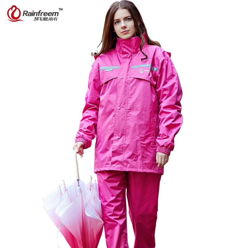 Rainfreem Impermeable Raincoat Women&Men Hood Rain Poncho Waterproof Rain Jacket Pants Suit Rainwear Men Motorcycle Rain Gear(China (Mainland))