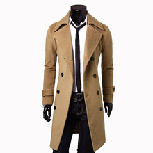 2015 Fashion New Long Men's Trench Coat Outwear Double Breasted Winter Overcoats Big Yards Mens Woolen Casual Men's Jacket XZ023(China (Mainland))
