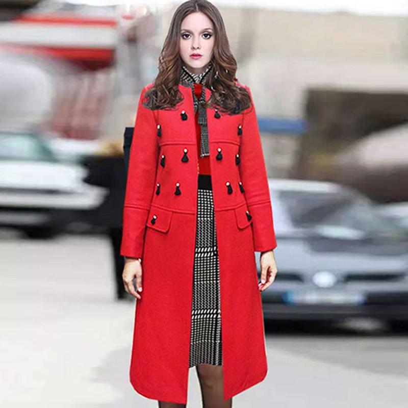 New Year Coat 2016 Winter European Fashion New Brand Full Sleeve Double Pockets Beading Tassel Slim High Street Woolen Long CoatОдежда и ак�е��уары<br><br><br>Aliexpress