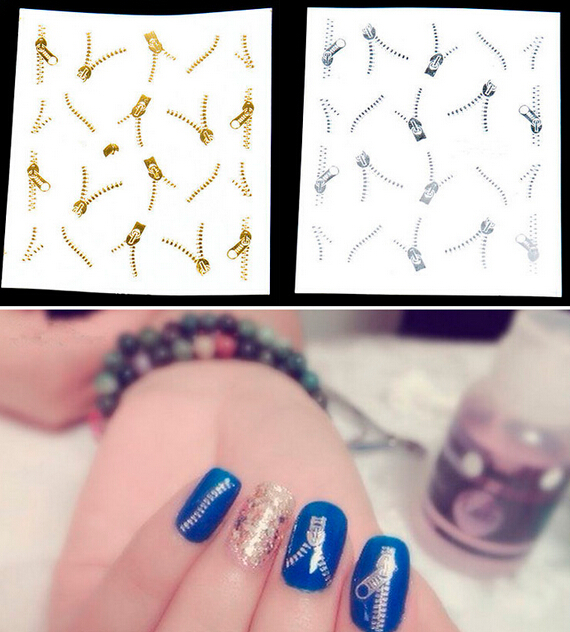 NEW ZIP STICKERS TRANSFER NAIL ART ZIPPERS BLING Sale(China (Mainland))