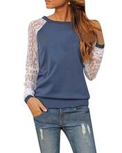 2015 neue Frauen Herbst Bluse Lässige Mode Spitze häkeln Patchwork Langarm-Shirt Tops plus Größe Blusas de renda feminino(China (Mainland))