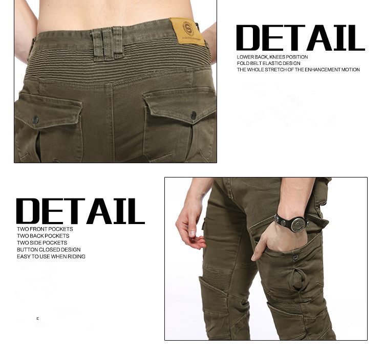 Men motorbike Racing Trousers ArmyGreen Motorcycle Leisure Pants Protective Gear With Pocket Slim Fit Moto Pants