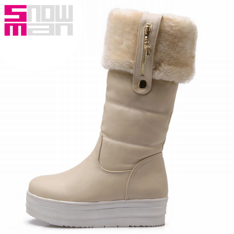 2 Styles Fashion Metal Charm Snow Boots Thick Sole Wedges Knee High Boots Thick Fur Warm Winter Boots Snow Shoes Botas Mujer
