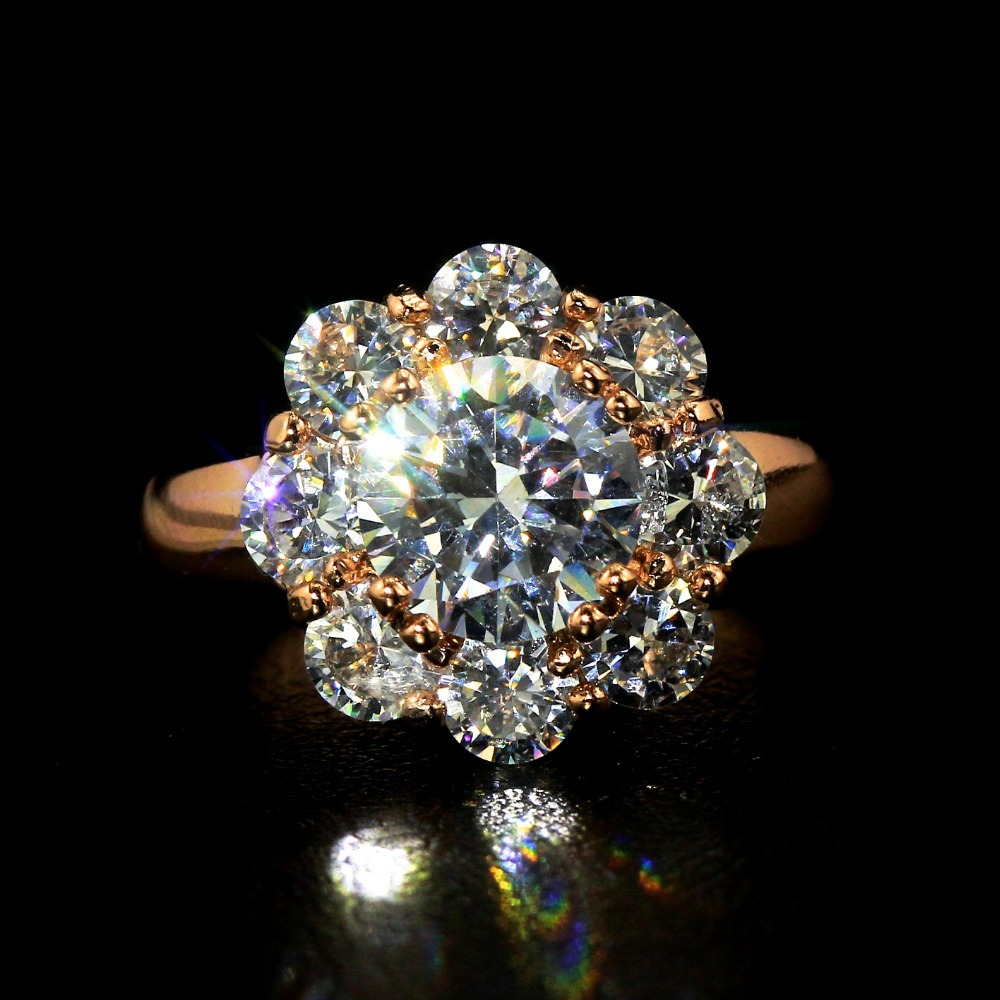 C20513R0460-6.9g 18K Rose Gold Plated 2.5carat Round Cubic Zirconia Antique Halo Engagement Rings - Crown quality store