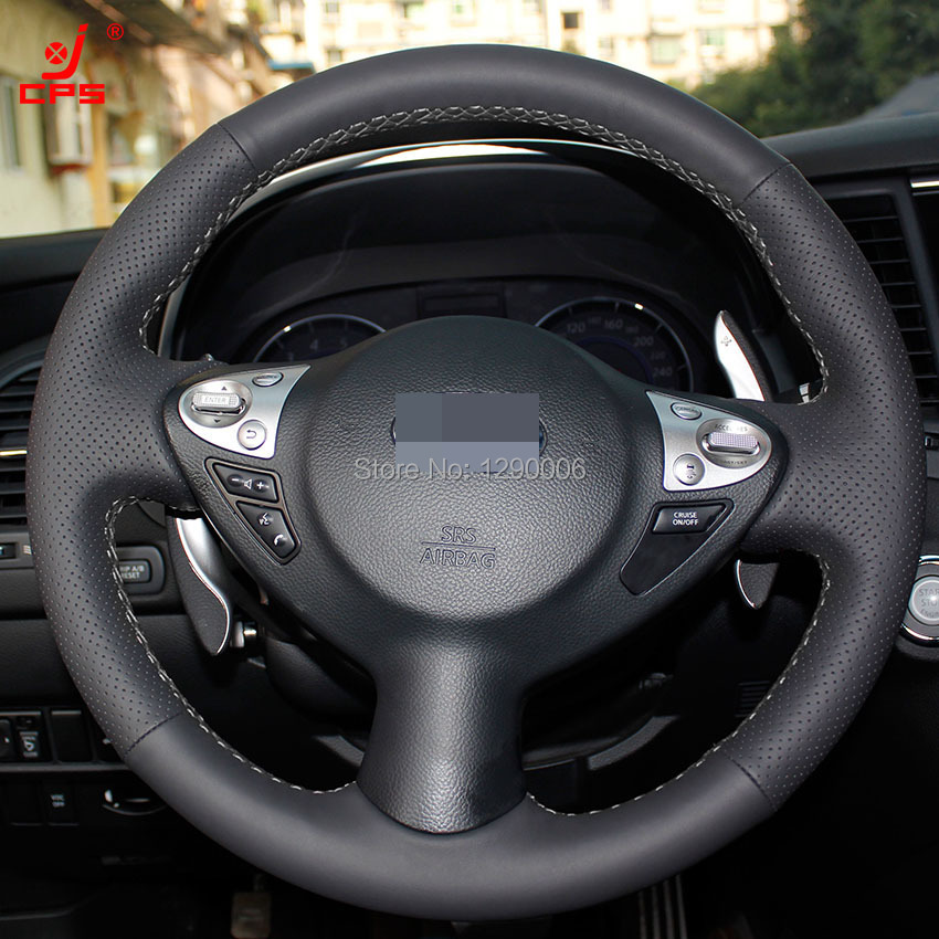 Black Leather Car Steering Wheel Cover for Infiniti FX FX35 FX37 FX50 Nissan Juke Nissan Maxima 2009-2014(China (Mainland))