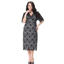 Women V-neck Evening Elegant Dress Plus Size 6XL 7XL Women Party Lace Long Maxi Dress(China (Mainland))