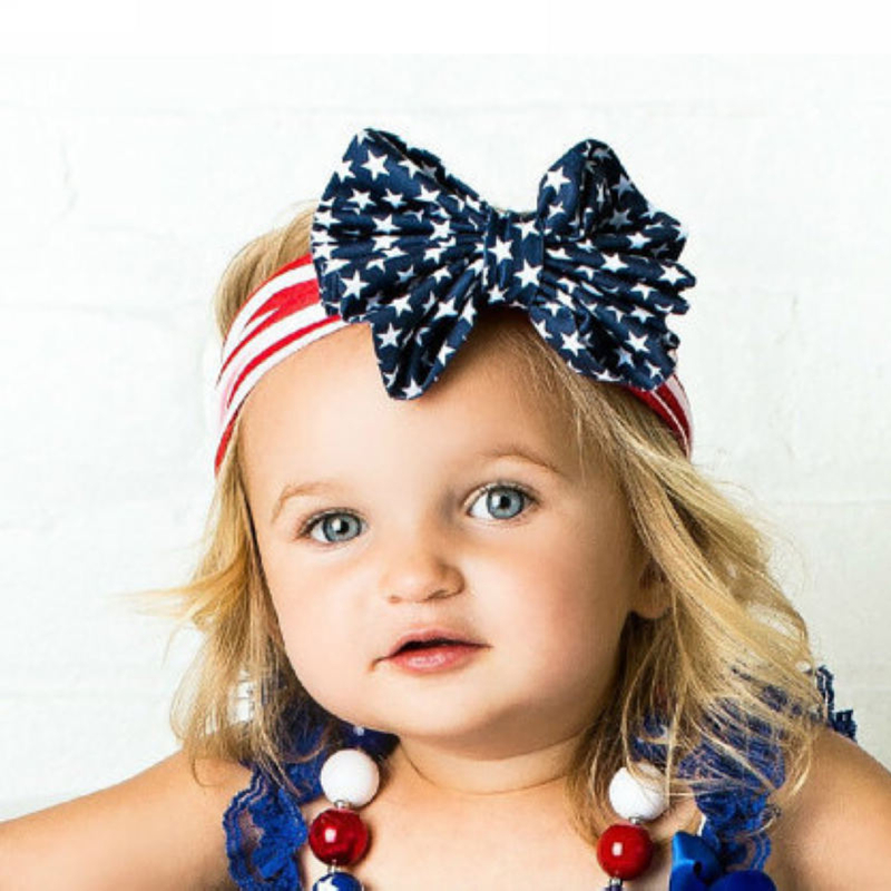 Wholesale Fashion American Flag Bowknot Headband Head Wrap Hair Band Elastic for Adult/Child Kids Women Girls Free Shipping(China (Mainland))