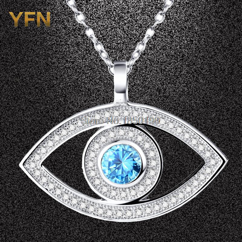 Wholesale GNX0324-B 925 Sterling Silver Necklace Fashion Jewelry Zircon Eye Pendant with Rolo Link Chain 18inch Gifts For Women(China (Mainland))