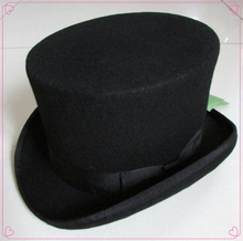 13.5cm(5.3inch) Steampunk / Mad Hatter Top Hat , Victorian Vintage Traditional Wool Fedoras Hat /Uncle Sam  Beaver hat, High hat